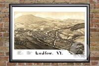Vintage Ludlow, VT Map 1885 - Historic Vermont Art - Old Victorian Industrial