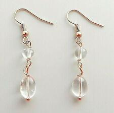 Rock crystal gemstone bead earrings .. clear quartz copper elegant glam jewelry