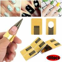 100X Nail Art Form Stickers Self adhesive Extension UV Builder Tips Gel Forms