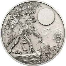 2013 PALAU MYTHICAL CREATURES 2 OZ SILVER WEREWOLF, MARBLE MOON -1ST IN SERIES