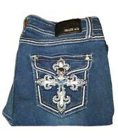 Grace In LA 38x28 Embellished Easy Fit Jeans Flap Pocket