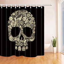 Skull Flower Waterproof Bathroom Fabric Shower Curtain 71x71 Inch & 12 Hooks