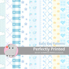 18 Patterned Paper Sq 140mm -Perfectly Printed Craft Paper - Baby Boy Patterns