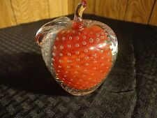 "Vintage Clear Glass & Red Apple Paper Weight with bubbles, 4-1/4"" Tall 3-3/4"""