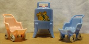 Dollhouse 2 Strollers & Washing Machine Pink & Blue, Acme & Renwall Vintage Mini