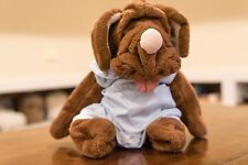 "Wrinkles Brown Dog Puppy Hand Puppet 17"" Plush Stuffed Animal Blue Clothes"