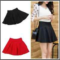 Lady High Waist Skirt Plain Skater Flared Pleated Stretch Sexy Mini Dress Shorts