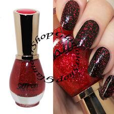 RED GLITTER Nail Polish Varnish by Saffron London Crystal Top Coat #61