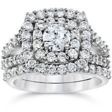 Almofada De Diamante De 2 Quilates Halo Noivado Casamento Anel Conjunto De Ouro Branco