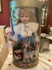 charlotte porcelain doll, collectible memories genuine porcelain doll, snowman