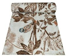 Owl Hand Block Print Indian Kantha Quilt Bedspreads Blanket Cotton Bedding Queen