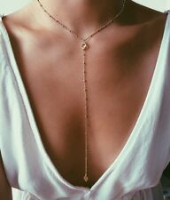 Gold Filled Y Lariat Necklace CZ charm Choker