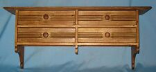 ANTIQUE 4-DRAWER HANGING WOODEN WALL CLOCK KITCHEN SHELF DETAILED CONSTRUCTION