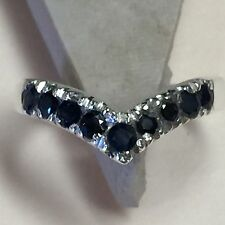 Natural 2ct Sapphire 925 Solid Sterling Silver Heart Ring sz 7.5