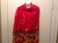 Women's Large Red Scarf  Wrap Shawl Underwater Tropical Fish & Porpoise Scene