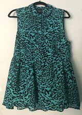Torrid Turquoise And Black Cheetah Print Sleeveless Top, Size 0