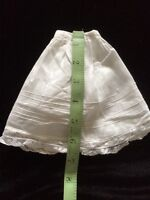 Antique Vtg Doll Skirt Slip Petticoat Primitive Teddy Bears Underwear White