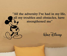 Disney Mickey Mouse All the advesity wall quote vinyl wall art decal sticker 32i