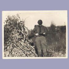Vintage Photograph 1940s HUNTER by Hay Stack GUN Rifle PHOTO