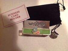"""Silver Plated Business Card Holder """"Flowers W/ Stones"""" Design~Free Shipping~"""