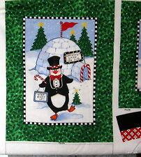 Tuxedo Junction Christmas Fabric Panel Penguin Pillow Pals kids cuddler