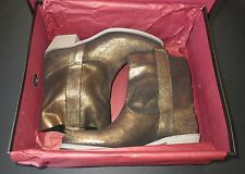 "CHARLES DAVID ITALY ""GROOVE"" DISTRESSED METALLIC GOLD BRONZE SUEDE BOOT, NIB 6.5"