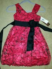 Gorgeous red and black girls dress size 7 - new with tags (floral pattern)