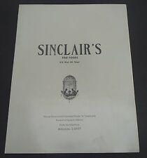 Vintage Sinclair's Fine Foods Restaurant Los Angeles menu 1950s?