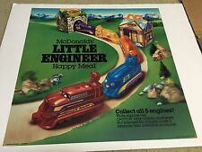 """1986 McDonalds Happy Meal Translite Sign Store Display 21""""x21"""" Little Engineer"""