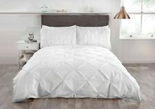 Rapport Balmoral Pinch Pin Tuck Duvet Cover Bedding Set White