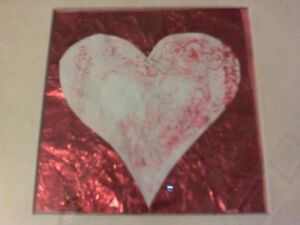 """Original gelli print heart mounted on red foil 4"""" square in an 8.5"""" square frame"""