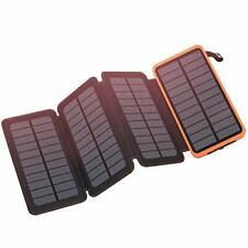 FEELLE Solar Charger 25000mAh Power Bank Dual 2.1A USB Output Portable Phone
