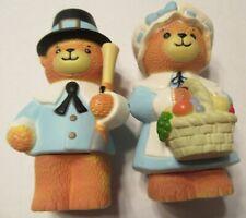 Vintage Enesco Lucy & Me Pilgrim Teddy Bear Couple Salt & Pepper Shakers Set
