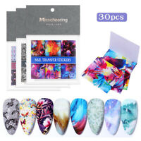 30pcs Colorful Nail Foils Stickers Bright Flower Nail Art Transfer Decal Decors