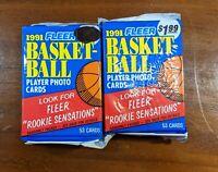1991 Fleer Basketball 53 Card Two Sealed Jumbo Packs. Free Ship!