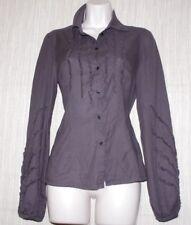 Cop. Copine Brown Gray Cotton Long Sleeve Shirt Size:38 Button-down Top