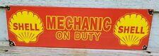 RARE SHELL MECHANIC PORCELAIN ENAMEL GAS STATION PUMP ADVERTISING SIGN