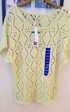 NWT Leo & Nicole Open Stitch Diamond Knit Layer Sweater Top Lime Green Large