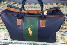 Polo Ralph Lauren Travel Weekender Gym Duffle Travel Bag Canvas Big Pony Leather