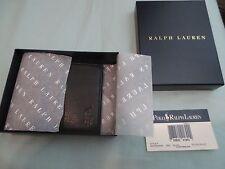 POLO RALPH LAUREN Men's Pebbled Leather Bifold Wallet in Black, NIB