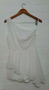 MISSGUIDED Label BNWT Women Floaty Chiffon One Shoulder Playsuit Jumpsuit Size 6