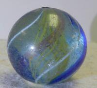 #12358m Large 1.17 Inches German Handmade Yellow Latticino Swirl Marble