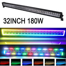 """32"""" 180W LED Light Bar Offroad with RGB Halo Ring Multicolor Change 72 Chasing"""