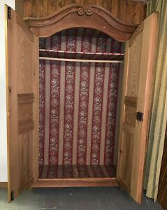 Weichholz Kleiderschrank, Pinie Garderobenschrank, Holz Landhausschrank, Vintage