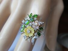 GORGEOUS NATURAL CHROME DIOPSIDE, MOTHER OF PEARL & CZ RING 925 STERLING SZ/9.5