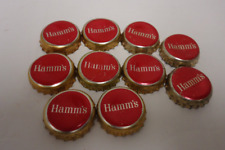 10 hamms beer bottle caps lot,red hamms beer advertising crafts supply.used