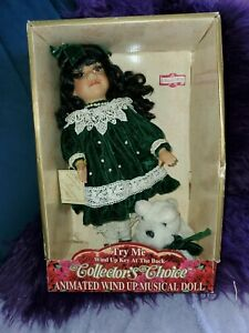 """DAN DEE COLLECTOR'S CHOICE BISQUE 13"""" GIRL & DOG ANIMATED MUSICAL SWANNIE RIVER"""