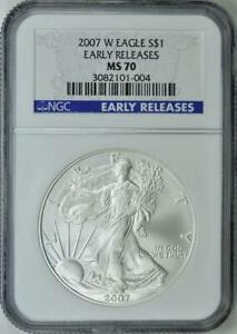 2007-W  American Silver Eagle - NGC MS-70 - Mint State 70