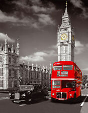 "CANVAS london red bus big ben thames picture print 20""x 30"" stretched over frame"