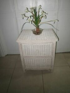 Wicker Nightstand Two Drawer Ivory Cottage Coastal Style